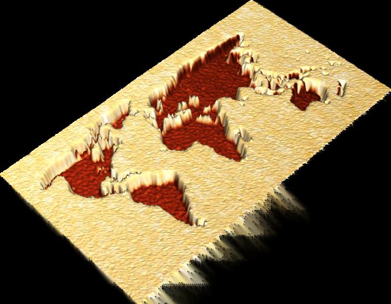 FIB milled world map